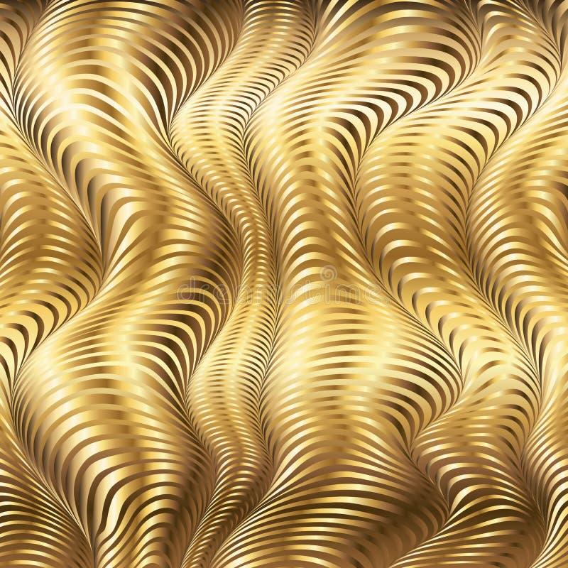 Goldener gestreifter Wellenvektor-Zusammenfassungshintergrund lizenzfreie abbildung
