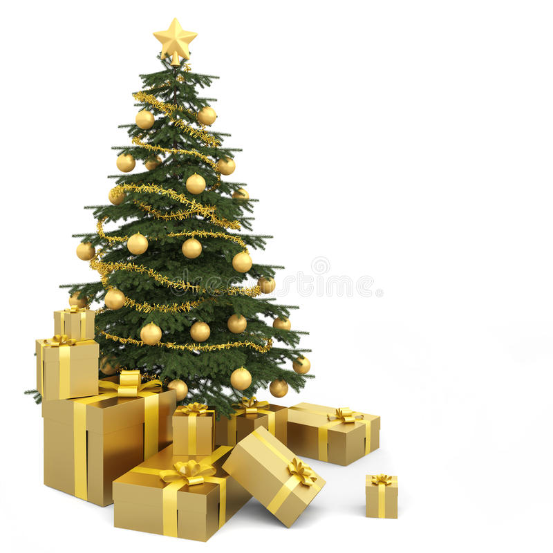 Goldener getrennter Weihnachtsbaum vektor abbildung
