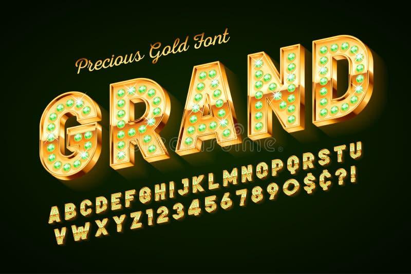 Goldener Guss 3d mit Edelsteinen, Goldbuchstaben und Zahlen lizenzfreie abbildung