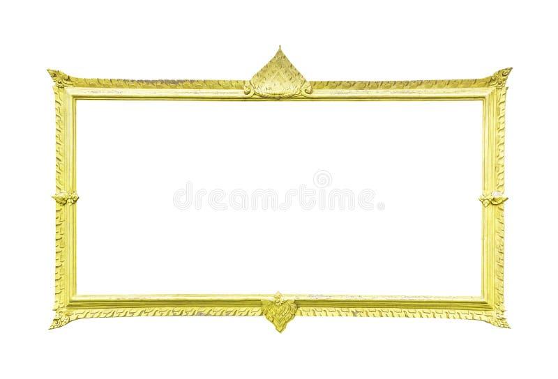 Goldener hölzerner Rahmen auf Weiß lizenzfreies stockfoto