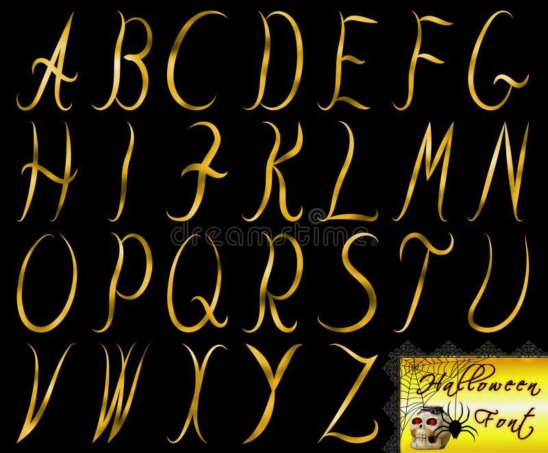 Goldener Halloween-Gusssatz auf lokalisiertem und transparentem Hintergrund vektor abbildung