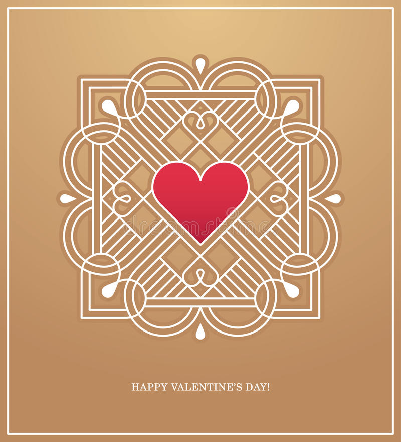 Goldener Herzrahmen für LiebesKonzept des Entwurfes vektor abbildung