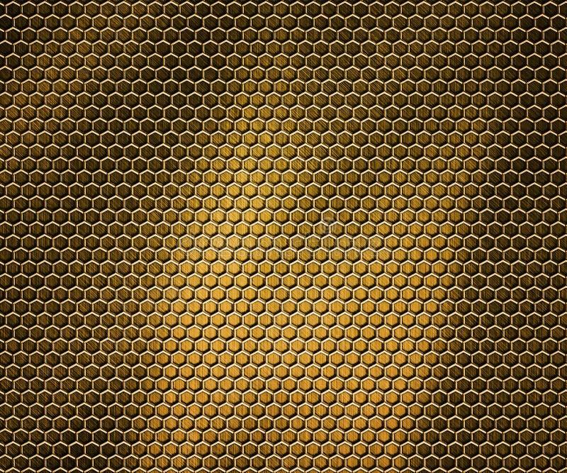 Goldener Hexen-Metallhintergrund stock abbildung