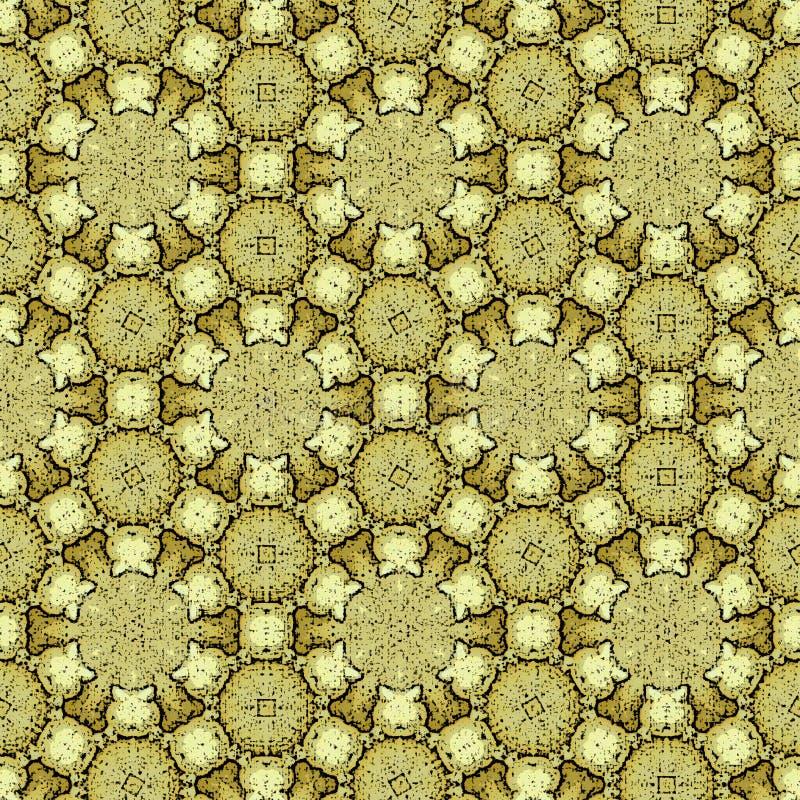 Goldener Hintergrund der heiligen Geometrie in den ununterbrochenen Kreisen und in den Blumen lizenzfreies stockfoto