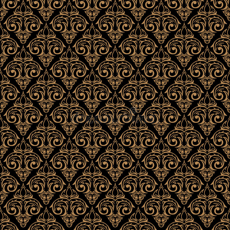 Goldener Hintergrund des nahtlosen barocken Damastes lizenzfreie abbildung