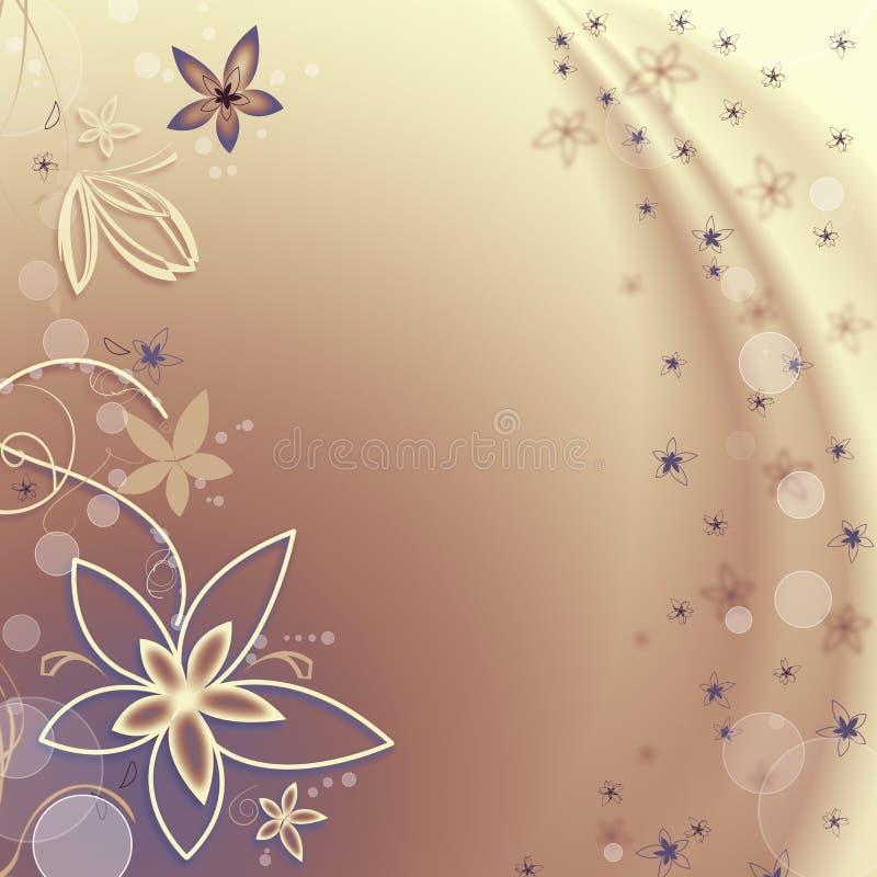 Goldener Hintergrund mit Blumen und Luftblasen lizenzfreies stockfoto
