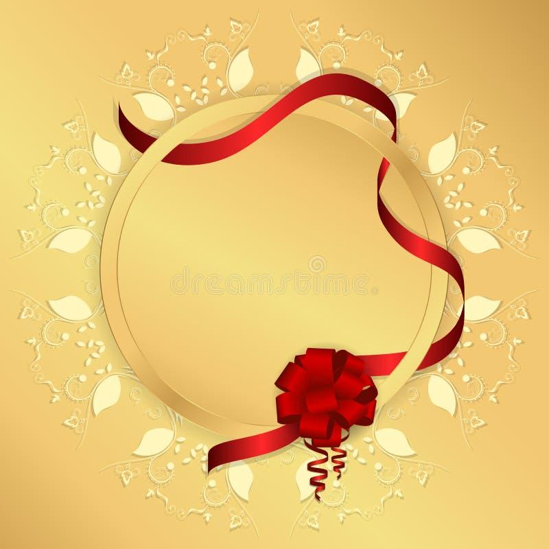 Goldener Hintergrund mit gelber Kreisverzierung, rundem Tag und rotem Band mit einem Bogen stock abbildung