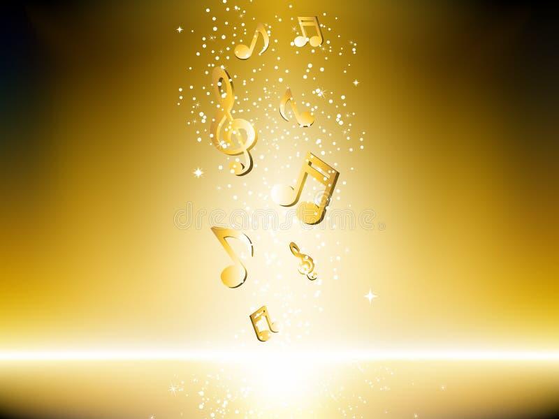 Goldener Hintergrund mit Musikanmerkungen vektor abbildung