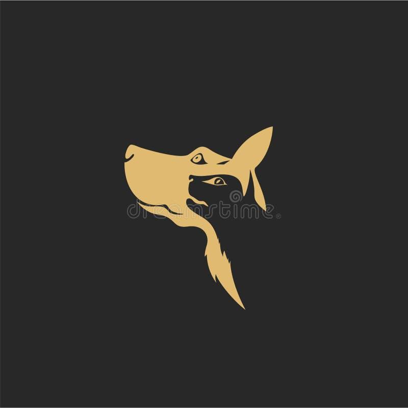 Goldener Hund und Katze auf hinterem Hintergrund vektor abbildung