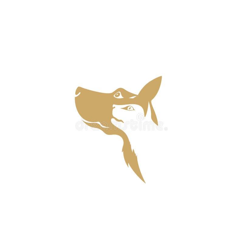 Goldener Hund und Katze auf weißem Hintergrund vektor abbildung