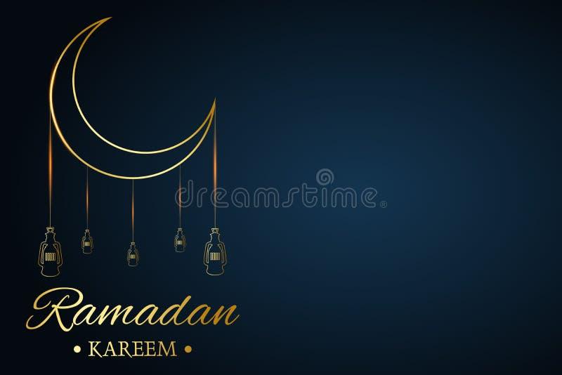 Goldener islamischer Mond und H?ngeleuchten, Ramadan-kareem geschrieben mit schwarzem Hintergrund, Vektor lizenzfreie abbildung