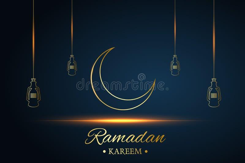 Goldener islamischer Mond und H?ngeleuchten, Ramadan-kareem geschrieben mit schwarzem Hintergrund, Vektor stock abbildung