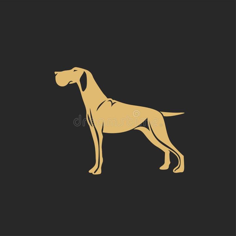 Goldener Jagdhund mit Schatten stock abbildung