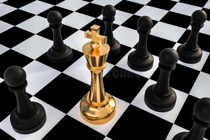 Goldener König umgeben durch schwarze Pfand - Schachblockierkonzept lizenzfreie abbildung