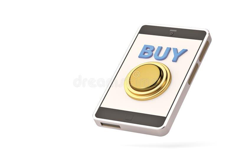 Goldener Kaufknopf am Handy Abbildung 3D vektor abbildung