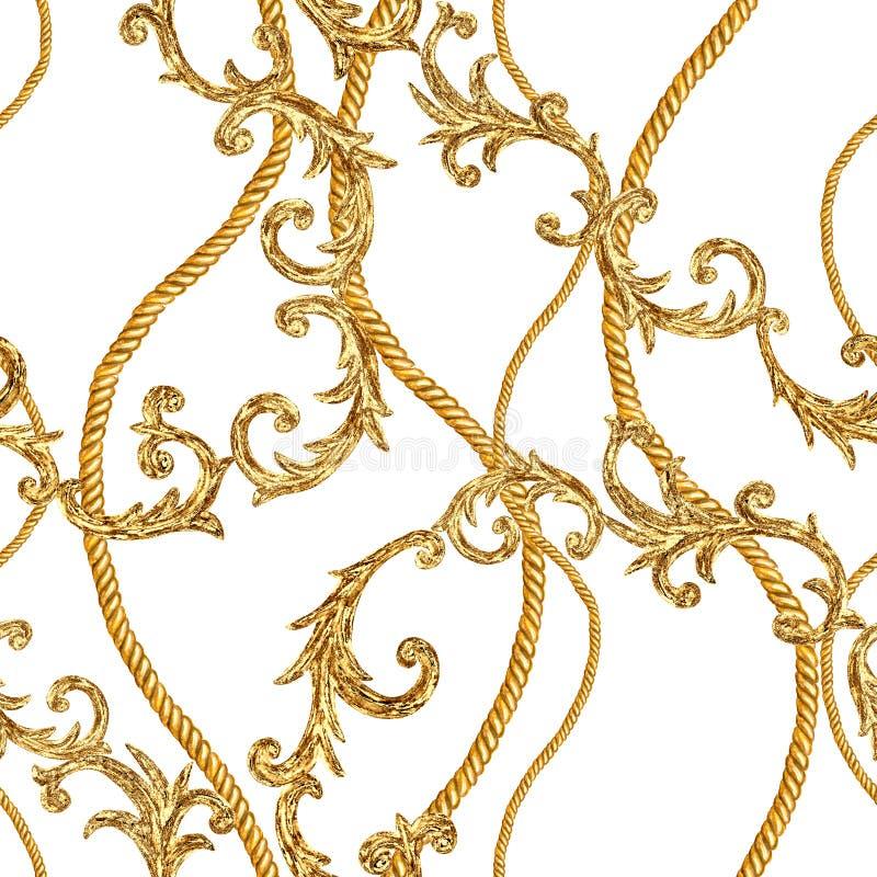 Goldener Kettenmusterhintergrund der barocken Art des zaubers nahtloser vektor abbildung