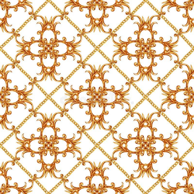 Goldener Kettenmusterhintergrund der barocken Art des zaubers nahtloser lizenzfreies stockbild