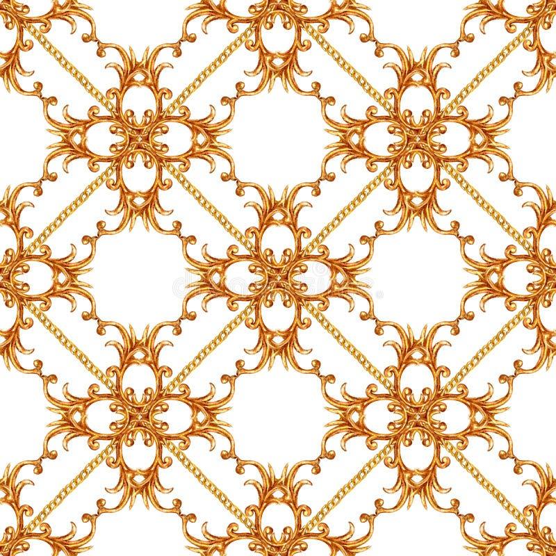 Goldener Kettenmusterhintergrund der barocken Art des zaubers nahtloser stockfotos