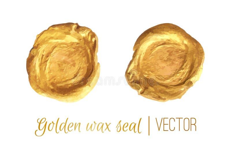 Goldener Kreisrahmen und Wachssiegelvektorsatz stock abbildung