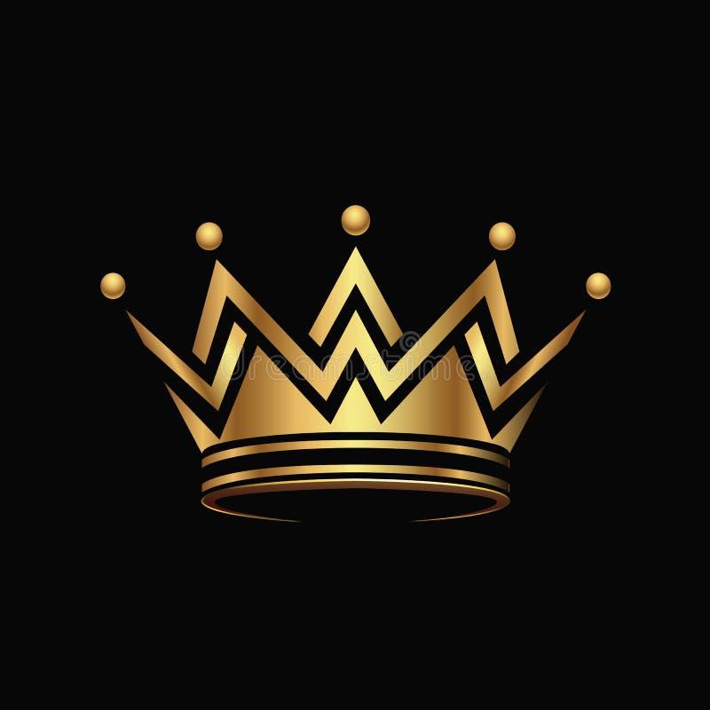 Goldener Krone Logozusammenfassungs-Designvektor stock abbildung