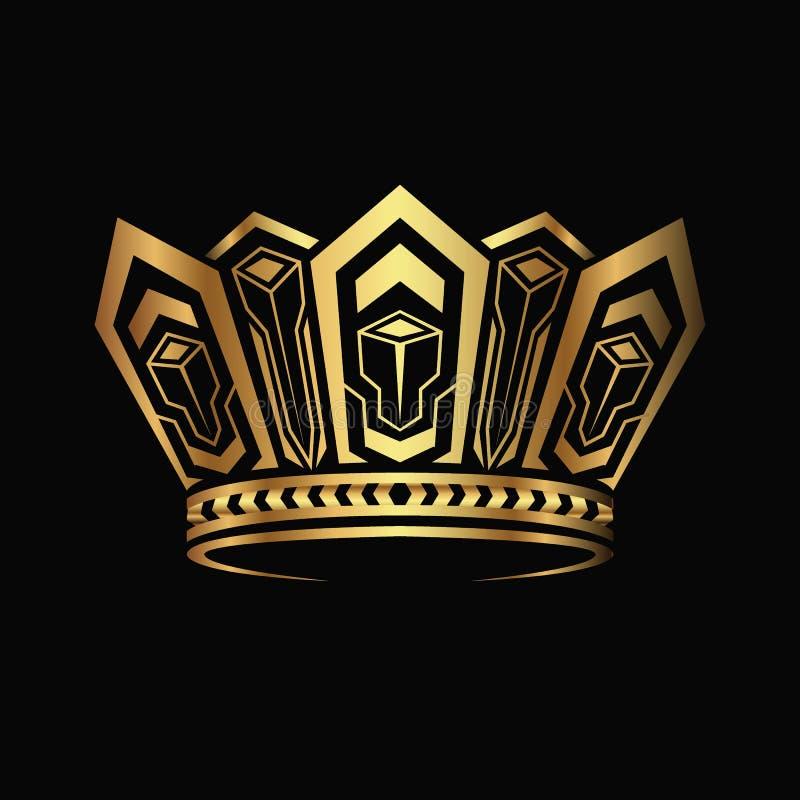 Goldener Krone Logozusammenfassungs-Designvektor vektor abbildung