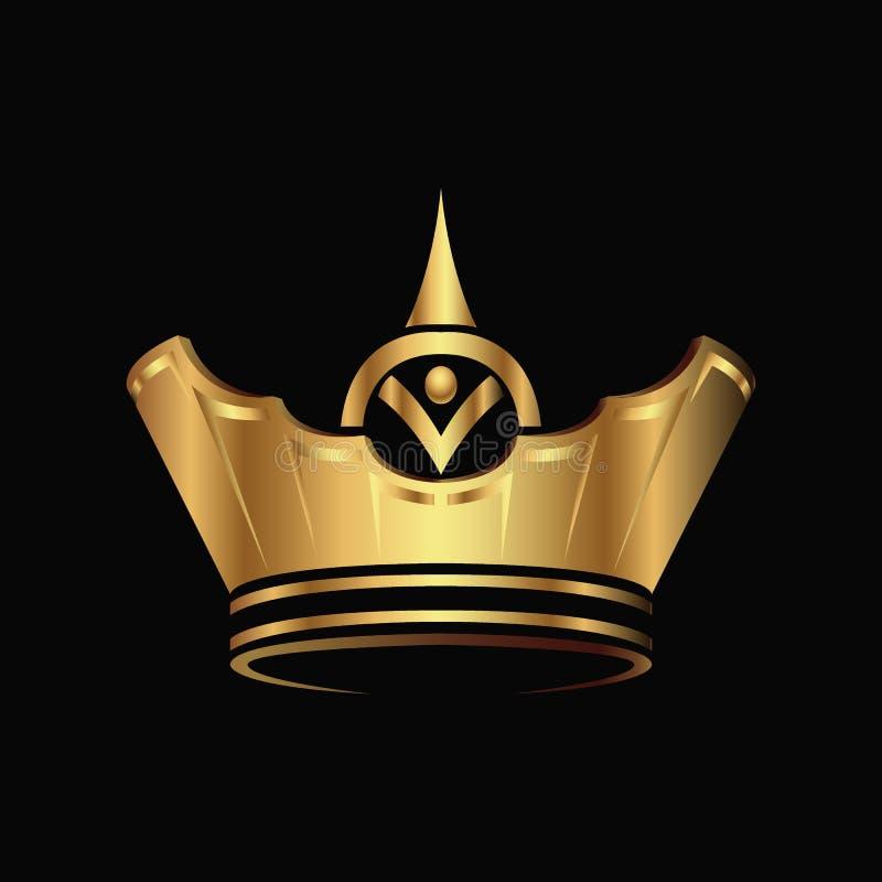 Goldener Krone Logozusammenfassungs-Designvektor lizenzfreie abbildung