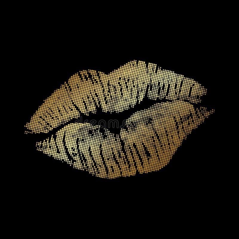 Goldener Kuss im Retrostil stock abbildung