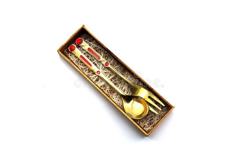 Goldener Löffel thailändischer Kunst Andenkens im Kasten stockbild