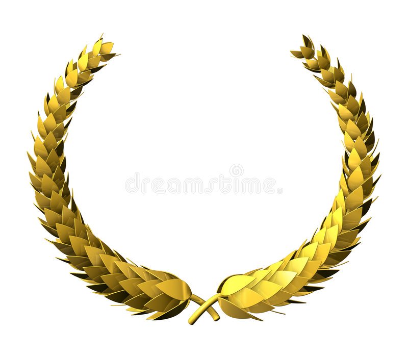 Goldener Lorbeer Wreath lizenzfreie stockfotos