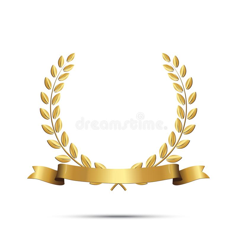 Goldener Lorbeerkranz mit dem Band lokalisiert auf weißem Hintergrund Einfach zu bearbeiten lizenzfreie abbildung