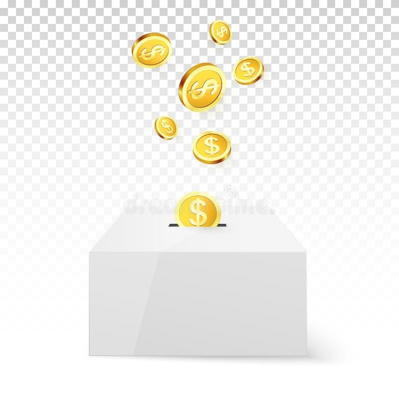 Goldener Münzen-Tropfen in Geld-Kasten Spende und Nächstenliebe Spenden Sie Geld-Konzept Goldenes Münzenkapital im Geldkasten Vek stock abbildung