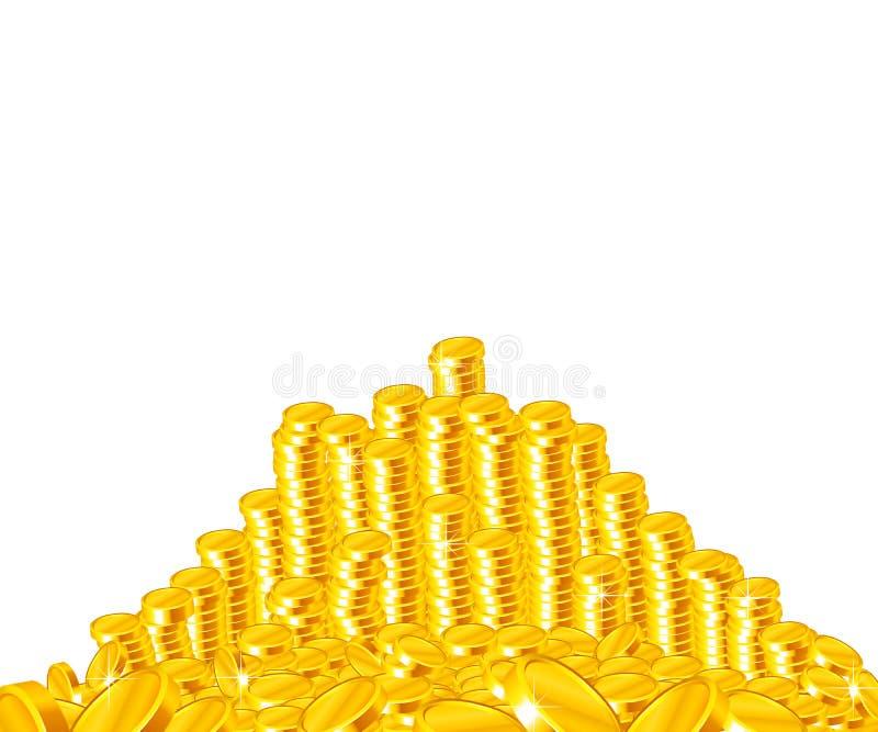 Goldener Münzenstapel stockfotografie