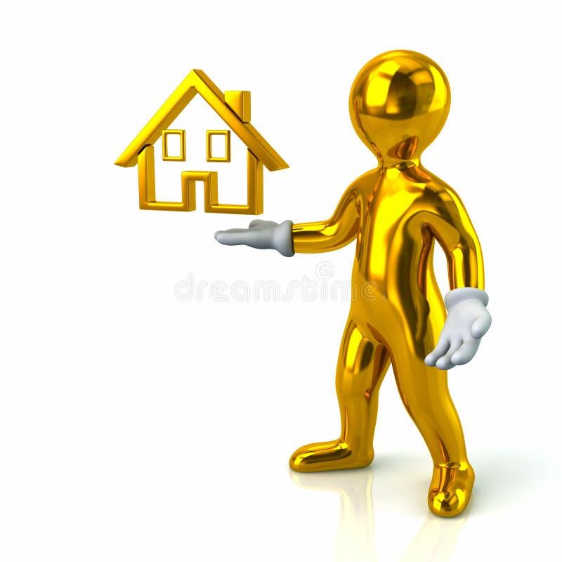 Goldener Mann und Haus stock abbildung