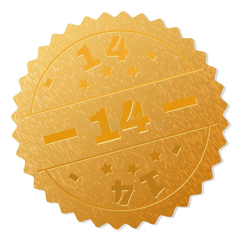 Goldener 14 Medaillen-Stempel stock abbildung