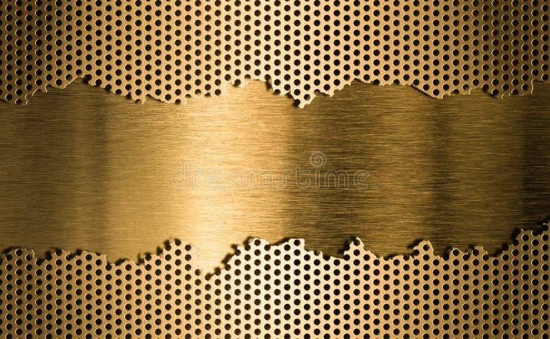 Goldener Metallgitterhintergrund stock abbildung