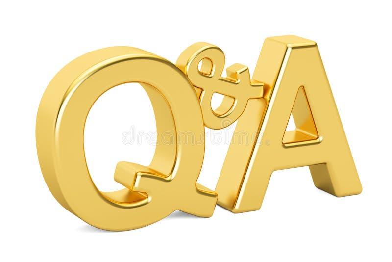 Goldener metallischer Text Q&A, Wiedergabe 3D lizenzfreie abbildung