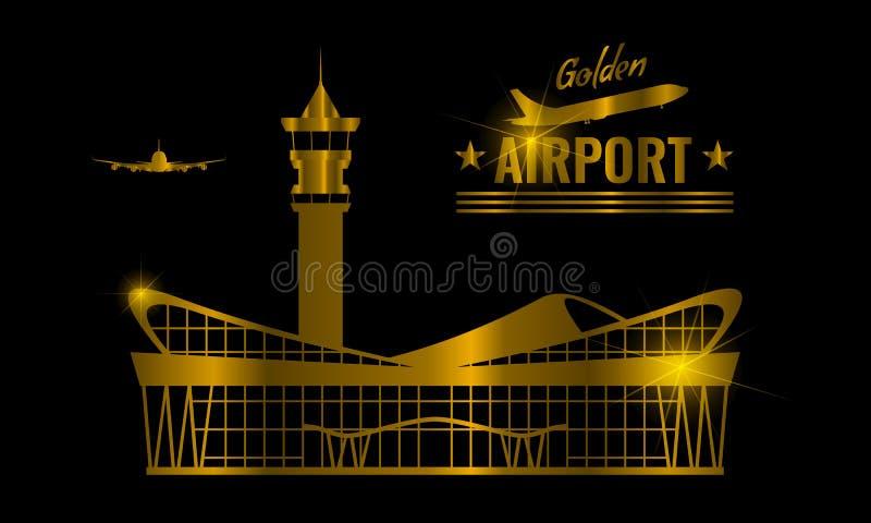 Goldener moderner Flughafenabfertigungsgebäudegebäude-Ikonenaufkleber Lokalisiertes Goldfarbentwurfssymbol für Kartenentwurf Vekt vektor abbildung