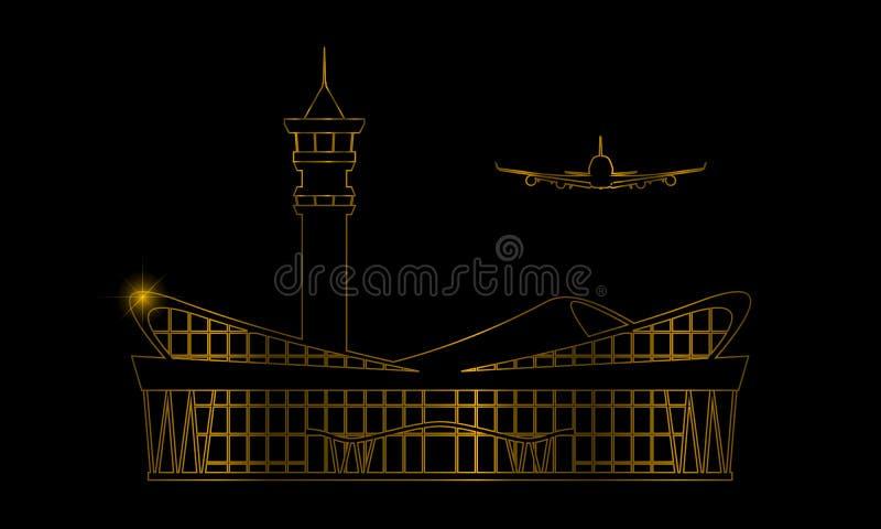 Goldener moderner Flughafenabfertigungsgebäudegebäude-Ikonenaufkleber Lokalisiertes Goldfarbentwurfssymbol für Kartenentwurf Vekt lizenzfreie abbildung