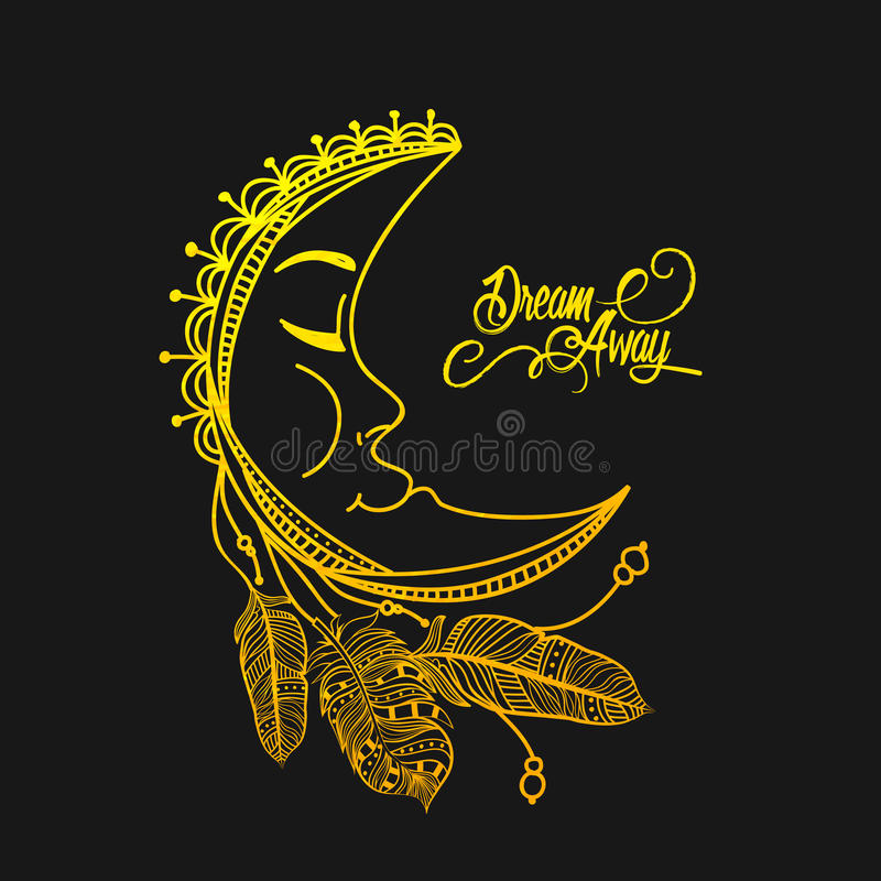 Goldener Mond mit Federn in Boho-Art stock abbildung
