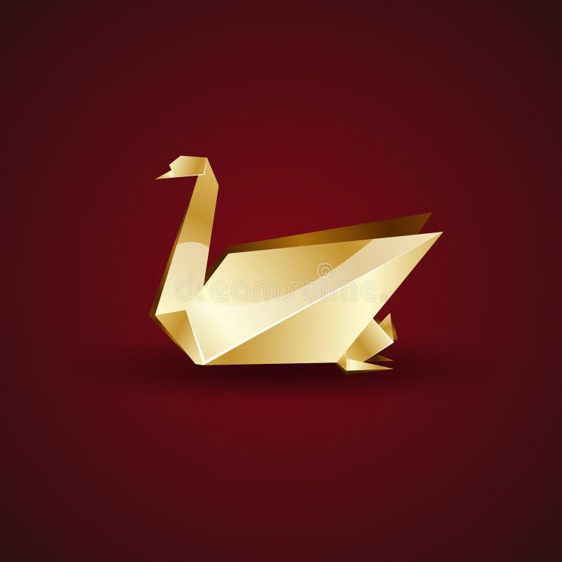 Goldener Origamischwan des Vektors lizenzfreie abbildung