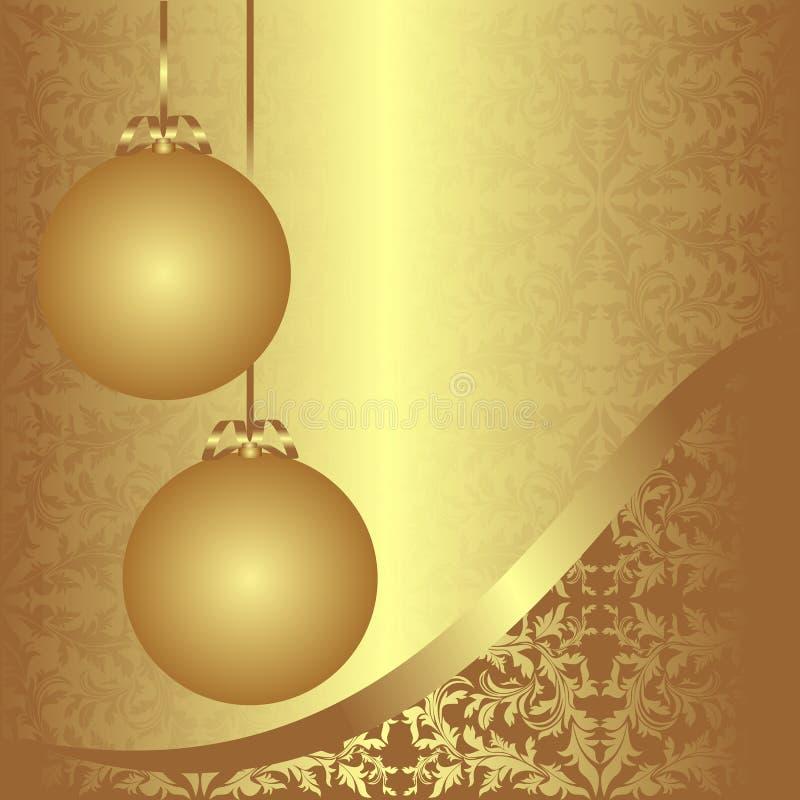 Goldener Ornamentalweihnachtshintergrund mit Bällen. lizenzfreie abbildung