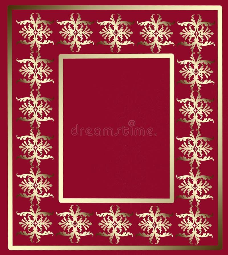 Goldener Ornamentrahmen auf einem roten Hintergrund vektor abbildung