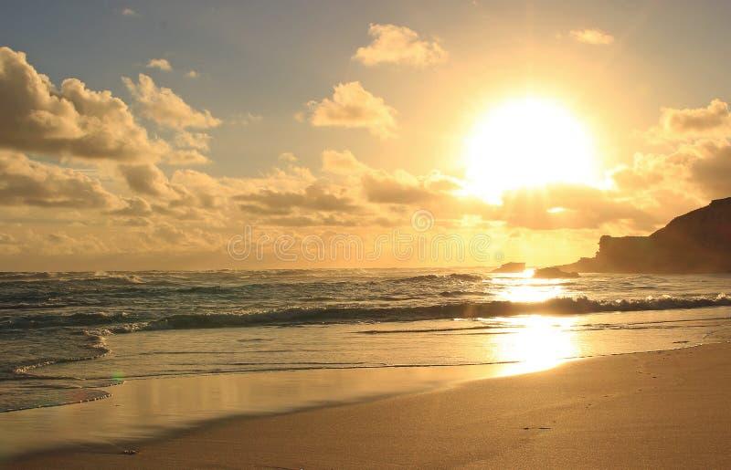 Goldener Ozeansonnenuntergang stockbilder