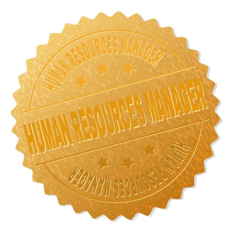 Goldener PERSONAL-MANAGER Award Stamp stock abbildung