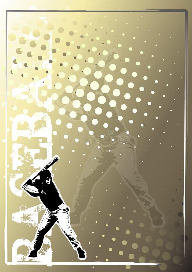 Goldener Plakathintergrund 3 des Baseballs stock abbildung