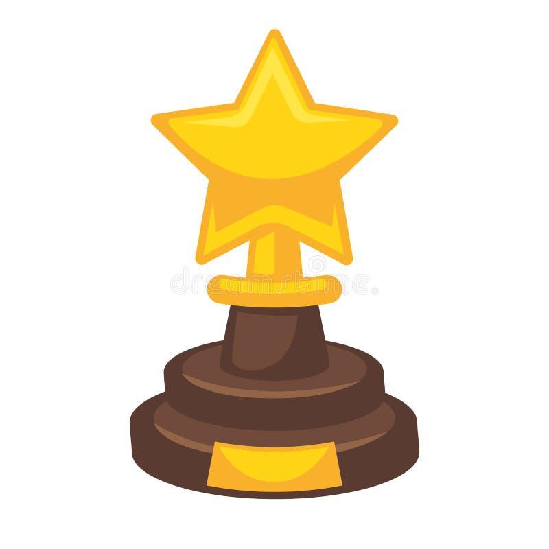 Goldener Preis in der Sternform lokalisiert auf Weiß Belohnungstrophäe lizenzfreie abbildung