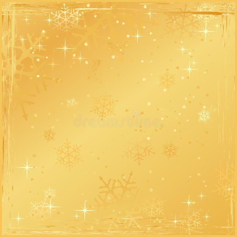 Goldener quadratischer grunge Weihnachtshintergrund vektor abbildung