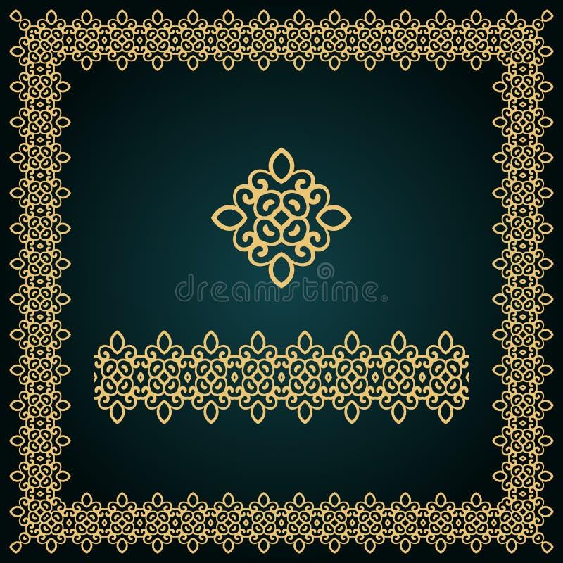 Goldener quadratischer Rahmen mit Logo und nahtloser Grenze lizenzfreie stockbilder