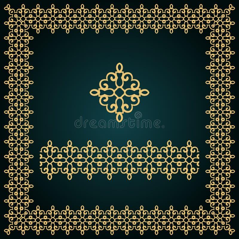 Goldener quadratischer Rahmen mit Logo und nahtloser Grenze stockbilder
