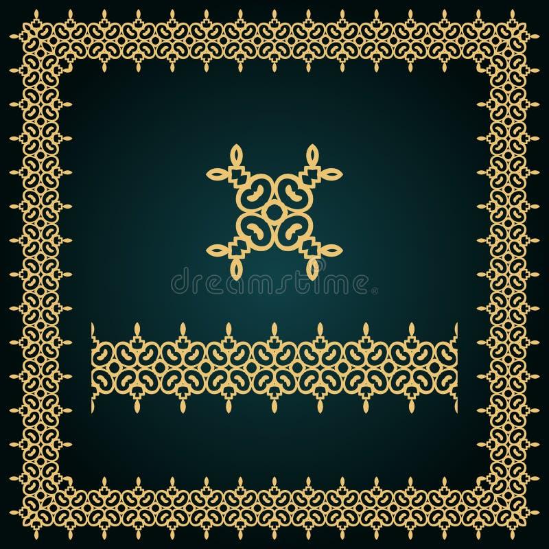 Goldener quadratischer Rahmen mit Logo und nahtloser Grenze lizenzfreies stockbild